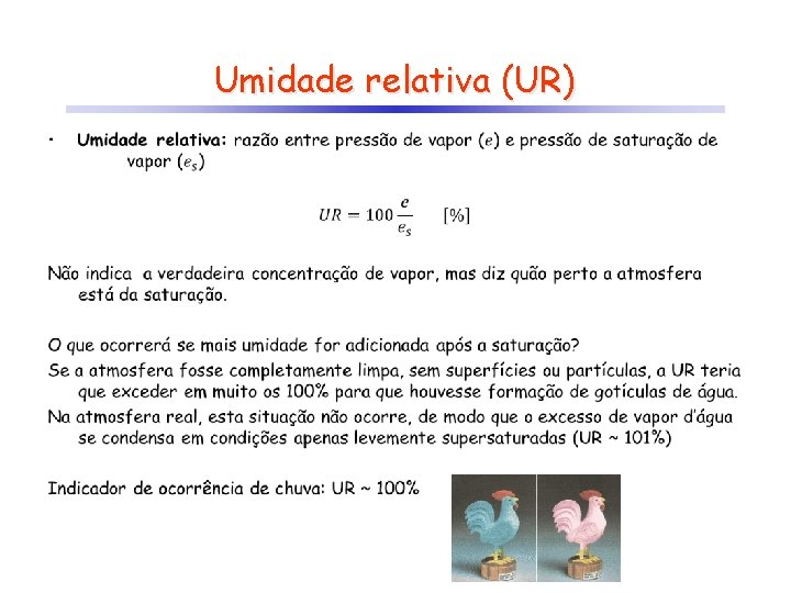 Umidade relativa (UR) •