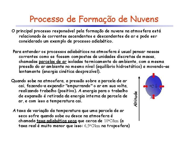 Processo de Formação de Nuvens O principal processo responsável pela formação de nuvens na