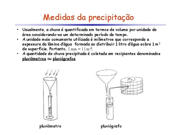 Medidas da precipitação • • • Usualmente, a chuva é quantificada em termos de