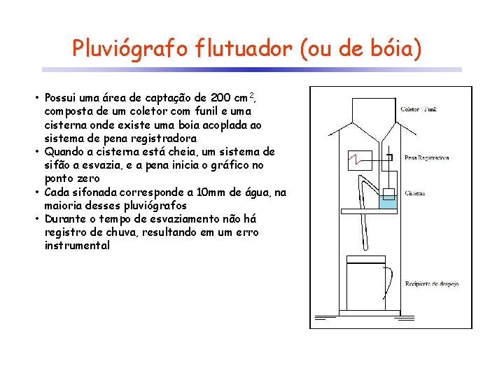 Pluviógrafo flutuador (ou de bóia) • Possui uma área de captação de 200 cm