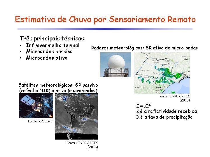 Estimativa de Chuva por Sensoriamento Remoto Três principais técnicas: • Infravermelho termal • Microondas