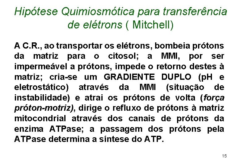 Hipótese Quimiosmótica para transferência de elétrons ( Mitchell) A C. R. , ao transportar