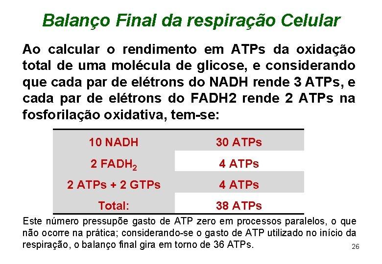 Balanço Final da respiração Celular Ao calcular o rendimento em ATPs da oxidação total