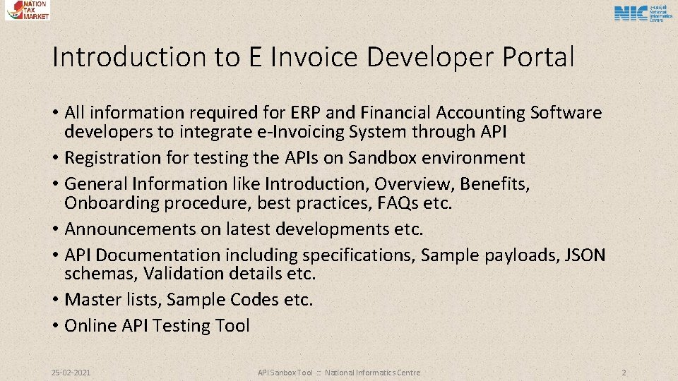 Introduction to E Invoice Developer Portal • All information required for ERP and Financial