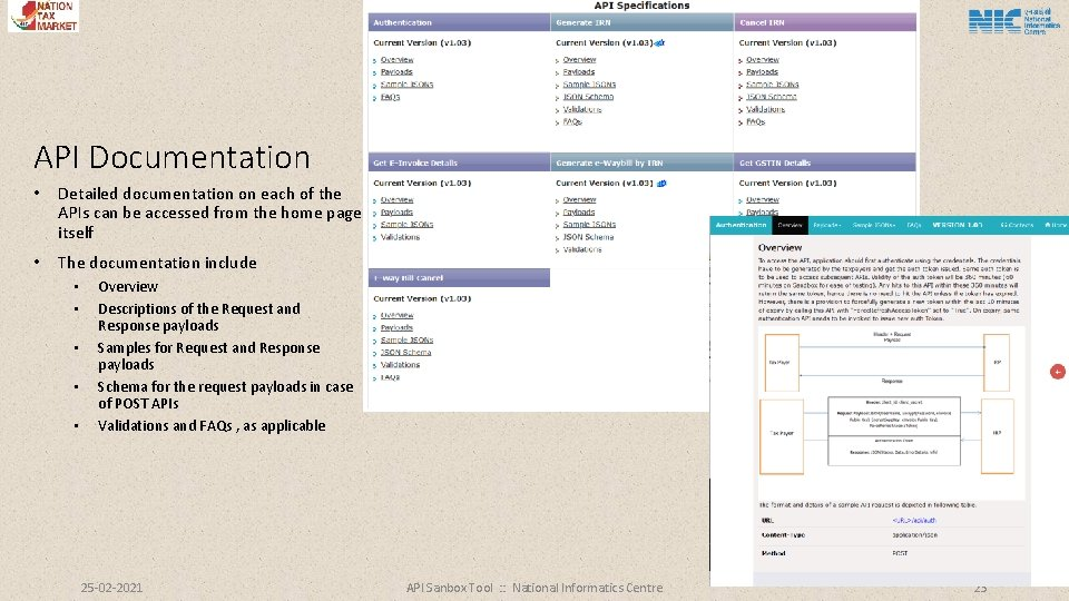 API Documentation • Detailed documentation on each of the APIs can be accessed from