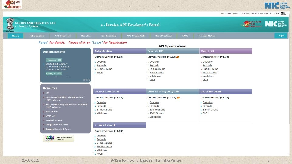 25 -02 -2021 API Sanbox Tool : : National Informatics Centre 3