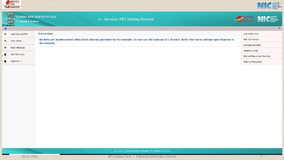 25 -02 -2021 API Sanbox Tool : : National Informatics Centre 7