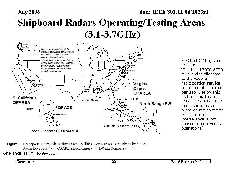 July 2006 doc. : IEEE 802. 11 -06/1023 r 1 Shipboard Radars Operating/Testing Areas