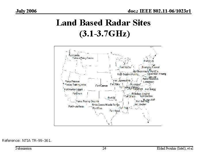 July 2006 doc. : IEEE 802. 11 -06/1023 r 1 Land Based Radar Sites