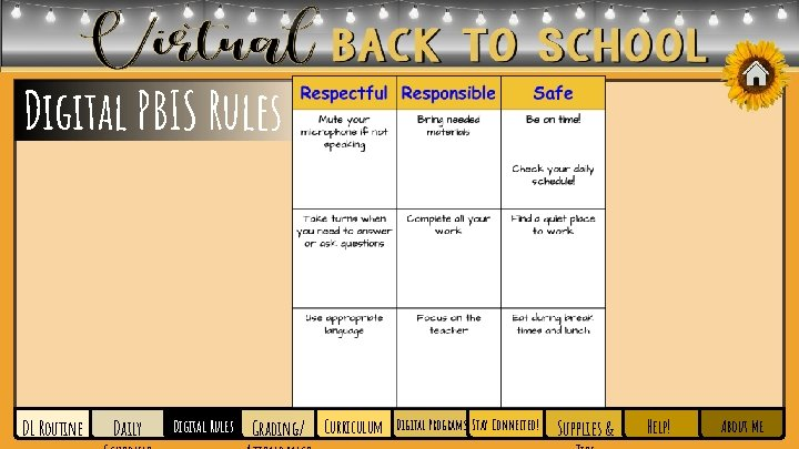 Digital PBIS Rules DL Routine Daily Digital Rules Grading/ Curriculum Digital Programs Stay Connected!