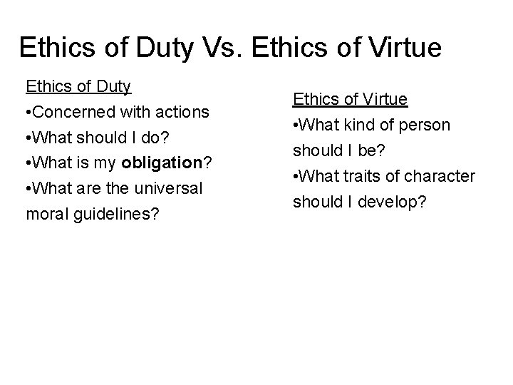 Ethics of Duty Vs. Ethics of Virtue Ethics of Duty • Concerned with actions