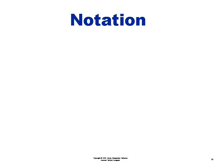 Notation Copyright © 1998, Triola, Elementary Statistics Addison Wesley Longman 14