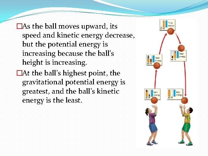 �As the ball moves upward, its speed and kinetic energy decrease, but the potential
