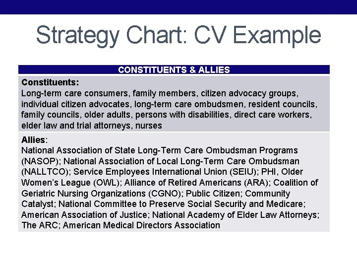 Strategy Chart: CV Example CONSTITUENTS & ALLIES Constituents: Long-term care consumers, family members, citizen