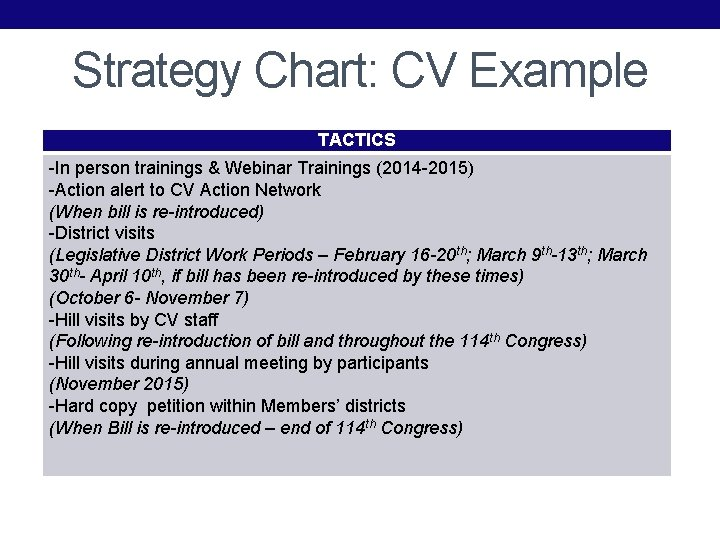 Strategy Chart: CV Example TACTICS -In person trainings & Webinar Trainings (2014 -2015) -Action