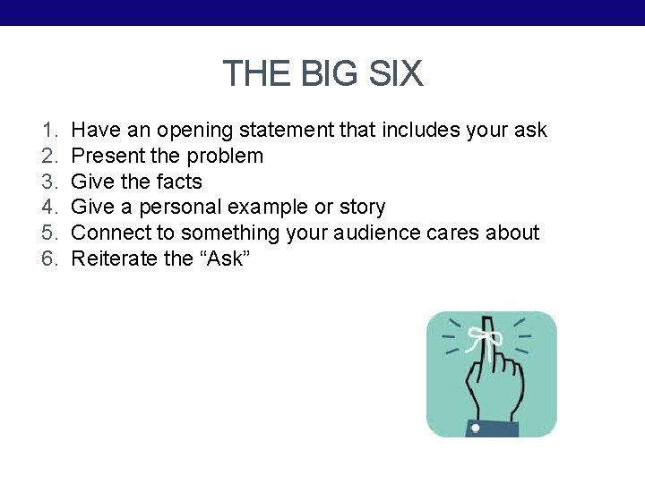 THE BIG SIX 1. 2. 3. 4. 5. 6. Have an opening statement that