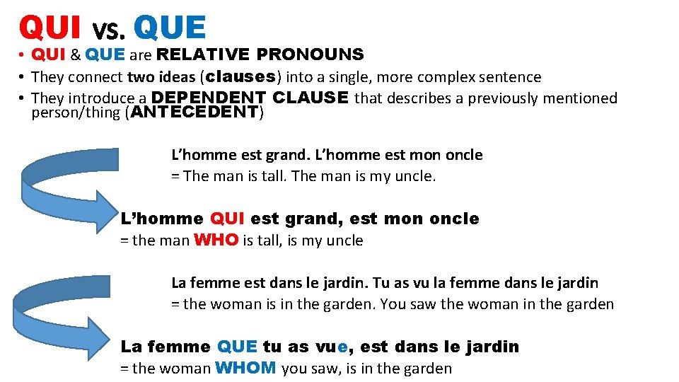QUI vs. QUE • QUI & QUE are RELATIVE PRONOUNS • They connect two
