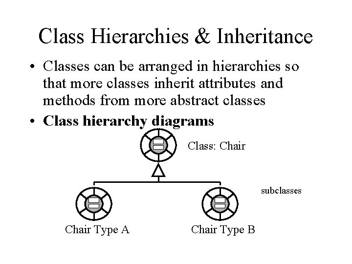 Class Hierarchies & Inheritance • Classes can be arranged in hierarchies so that more