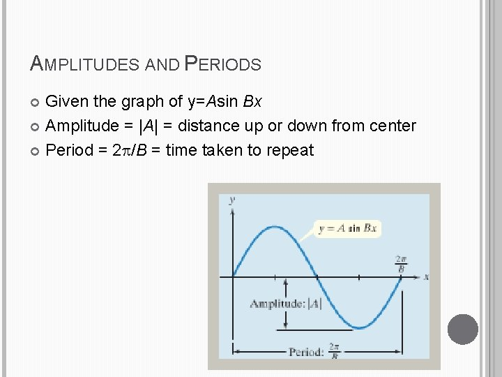 AMPLITUDES AND PERIODS Given the graph of y=Asin Bx Amplitude =  A  = distance