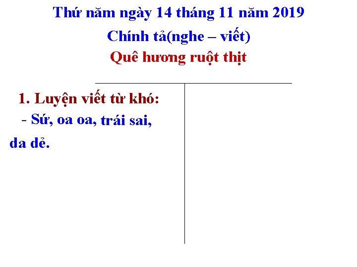 Thứ năm ngày 14 tháng 11 năm 2019 Chính tả(nghe – viết) Quê hương