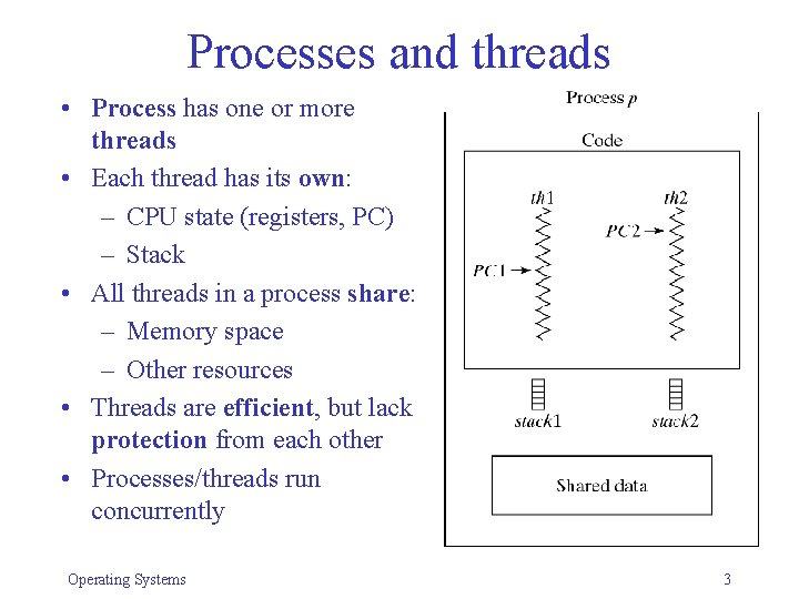 Processes and threads • Process has one or more threads • Each thread has