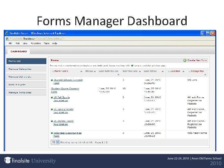 Forms Manager Dashboard