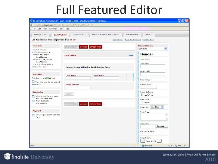 Full Featured Editor