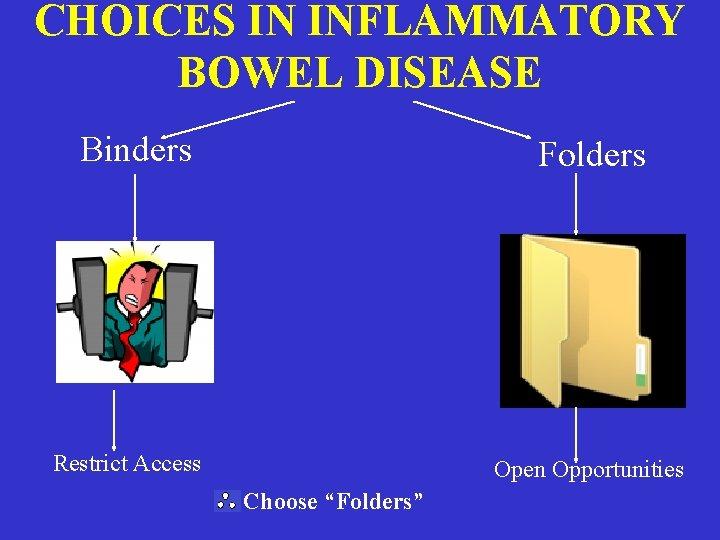 "CHOICES IN INFLAMMATORY BOWEL DISEASE Binders Folders Restrict Access Open Opportunities Choose ""Folders"""