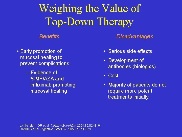 Weighing the Value of Top-Down Therapy Benefits • Early promotion of mucosal healing to