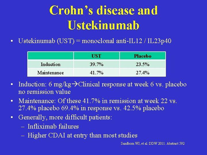 Crohn's disease and Ustekinumab • Ustekinumab (UST) = monoclonal anti-IL 12 / IL 23