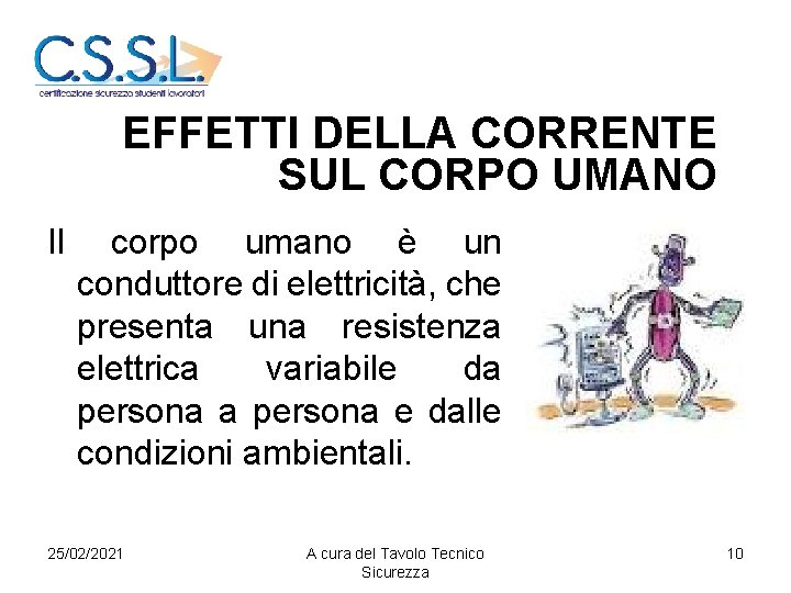 EFFETTI DELLA CORRENTE SUL CORPO UMANO Il corpo umano è un conduttore di elettricità,