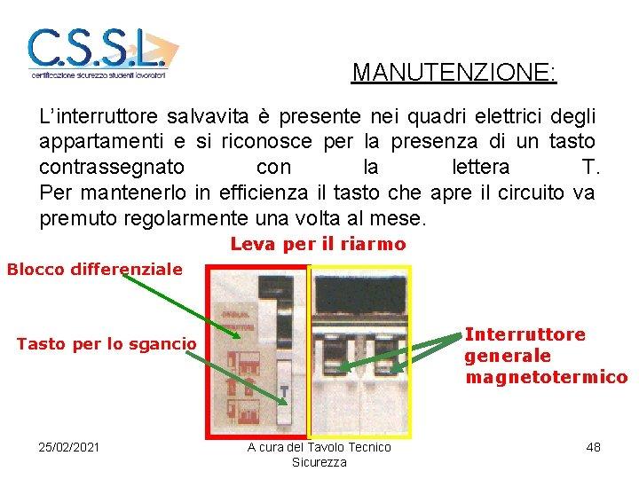 MANUTENZIONE: L'interruttore salvavita è presente nei quadri elettrici degli appartamenti e si riconosce per