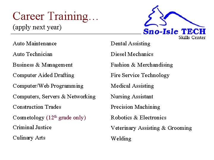 Career Training… (apply next year) Auto Maintenance Dental Assisting Auto Technician Diesel Mechanics Business