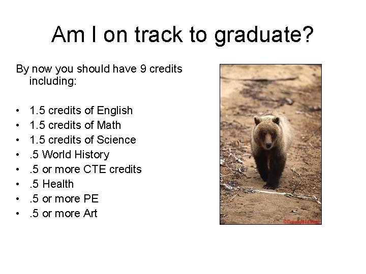 Am I on track to graduate? By now you should have 9 credits including: