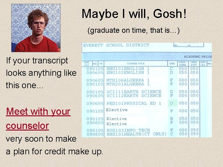 Maybe I will, Gosh! (graduate on time, that is…) If your transcript looks anything