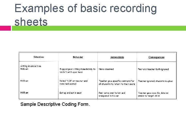 Examples of basic recording sheets Sample Descriptive Coding Form.