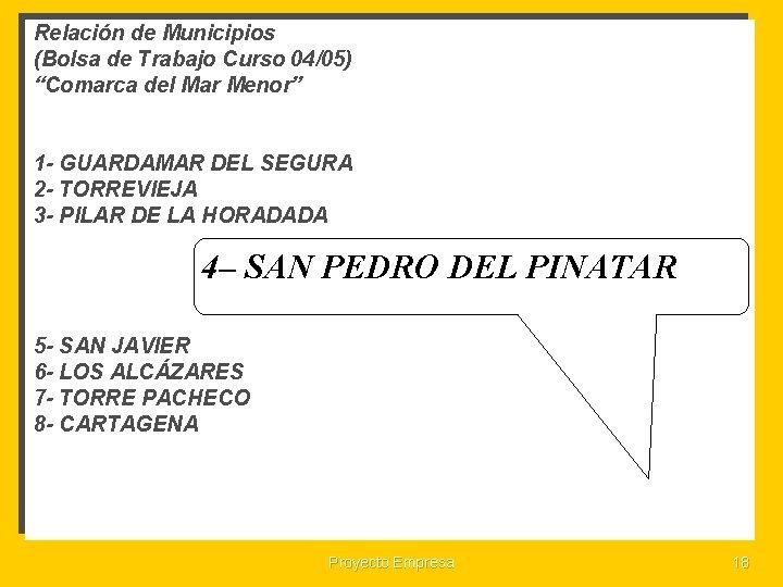 """Relación de Municipios (Bolsa de Trabajo Curso 04/05) """"Comarca del Mar Menor"""" 1 -"""