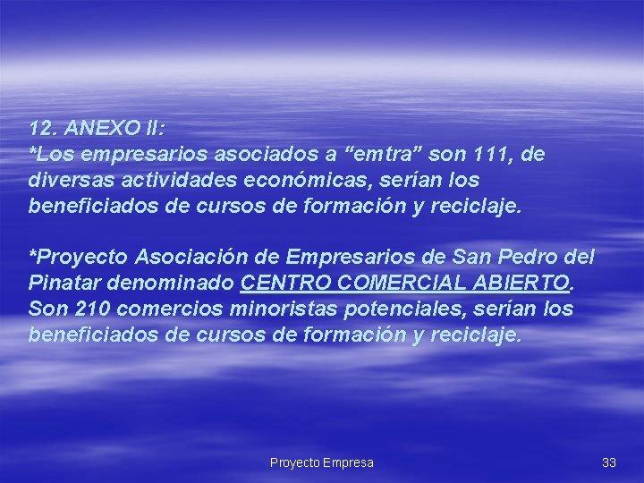 """12. ANEXO II: *Los empresarios asociados a """"emtra"""" son 111, de diversas actividades económicas,"""