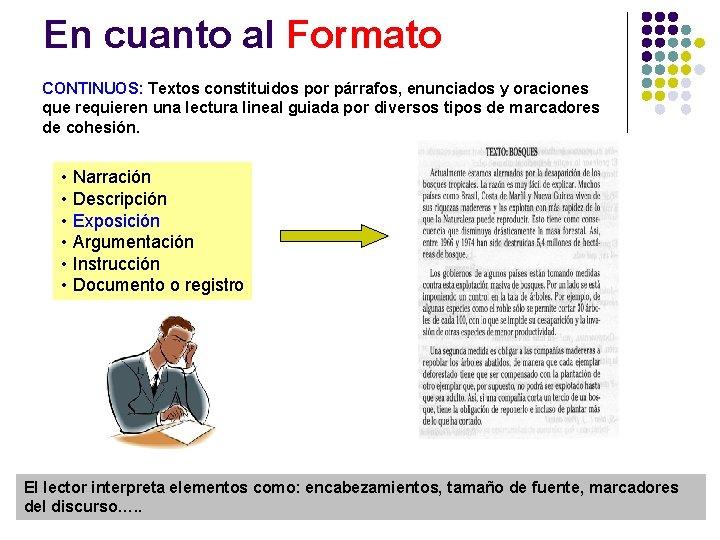 En cuanto al Formato CONTINUOS: Textos constituidos por párrafos, enunciados y oraciones que requieren