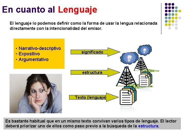 En cuanto al Lenguaje El lenguaje lo podemos definir como la forma de usar