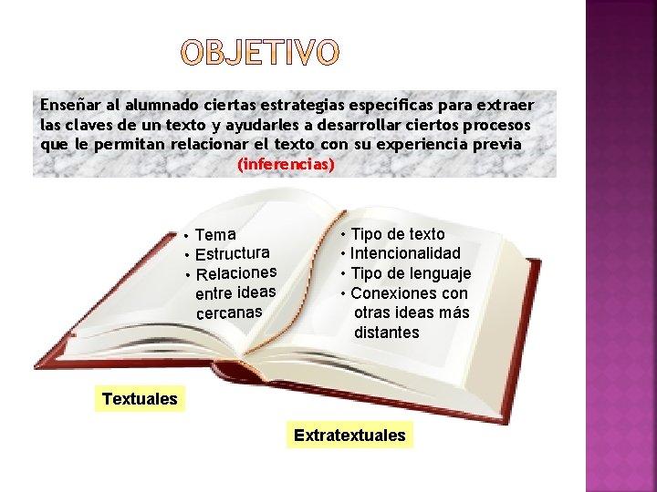 Enseñar al alumnado ciertas estrategias específicas para extraer las claves de un texto y