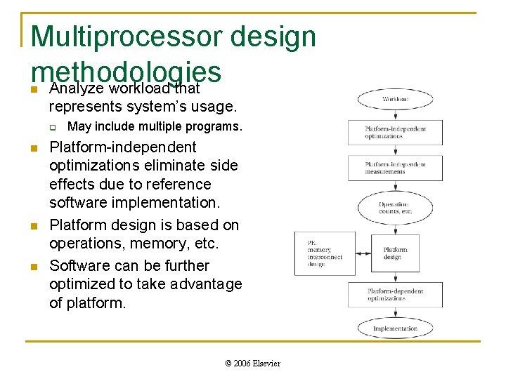 Multiprocessor design methodologies Analyze workload that n represents system's usage. q n n n