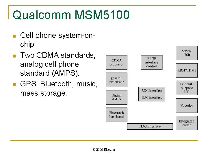 Qualcomm MSM 5100 n n n Cell phone system-onchip. Two CDMA standards, analog cell