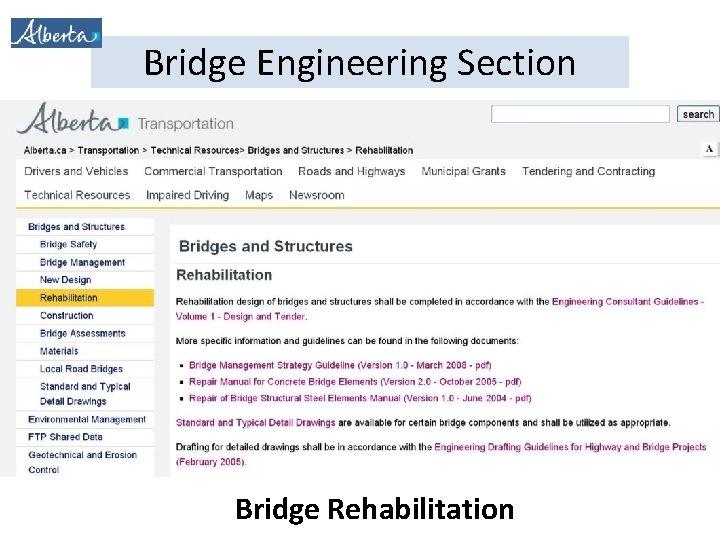 Bridge Engineering Section Bridge Rehabilitation