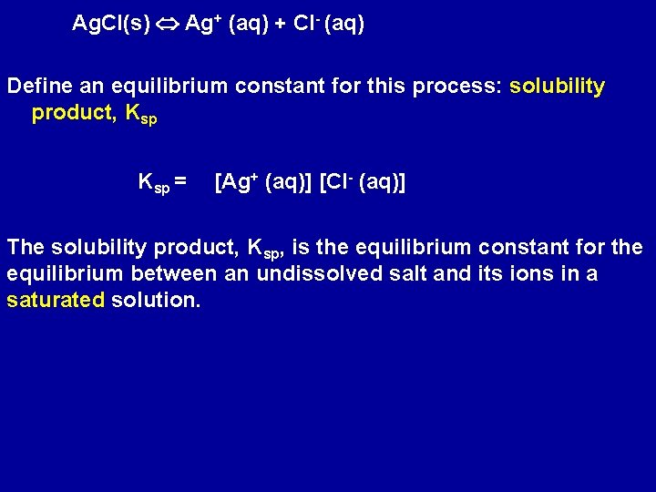 Ag. Cl(s) Ag+ (aq) + Cl- (aq) Define an equilibrium constant for this process: