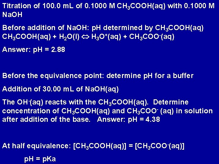 Titration of 100. 0 m. L of 0. 1000 M CH 3 COOH(aq) with