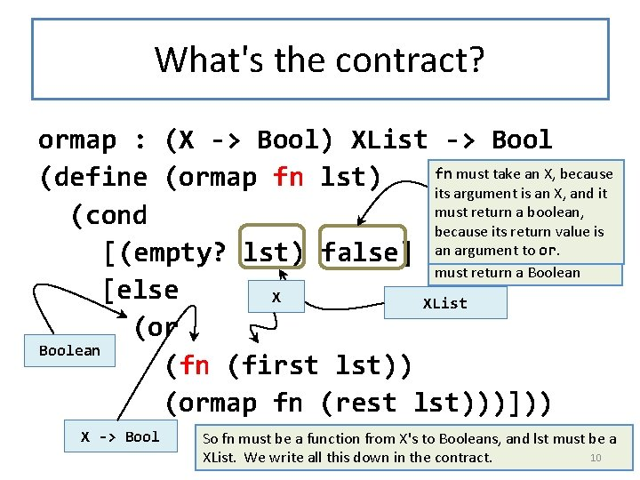 What's the contract? ormap : (X -> Bool) XList -> Bool fn must take