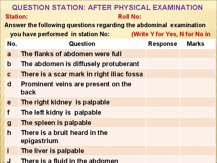 QUESTION STATION: AFTER PHYSICAL EXAMINATION Station: Roll No: Answer the following questions regarding the