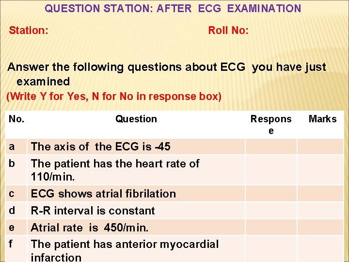 QUESTION STATION: AFTER ECG EXAMINATION Station: Roll No: Answer the following questions about ECG