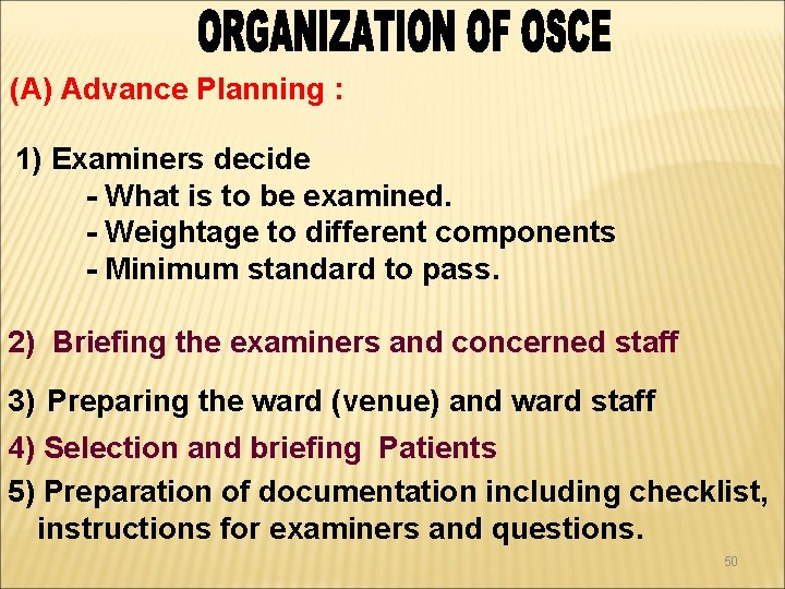 (A) Advance Planning : 1) Examiners decide - What is to be examined. -